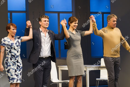 Tanya Franks (Laurence), Alexander Hanson (Michel), Frances O'Connor (Alice) and Robert Portal (Paul) during the curtain call