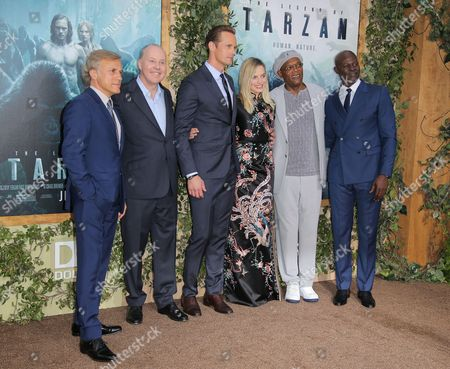 Christoph Waltz, David Barron, Alexander Skarsgard, Margot Robbie, Samuel L. Jackson and Djimon Hounsou