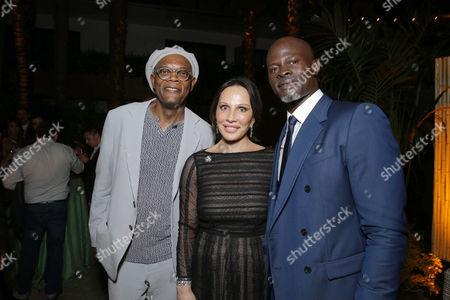 Stock Image of Samuel L. Jackson, Sylvia Bongo Ondimba, Djimon Hounsou