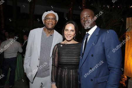 Stock Photo of Samuel L. Jackson, Sylvia Bongo Ondimba, Djimon Hounsou