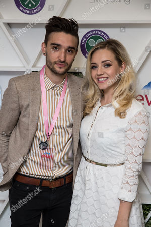 Tom Parker and Kelsey Hardwick in the evian Live Young suite, at Wimbledon 2016 #wimblewatch