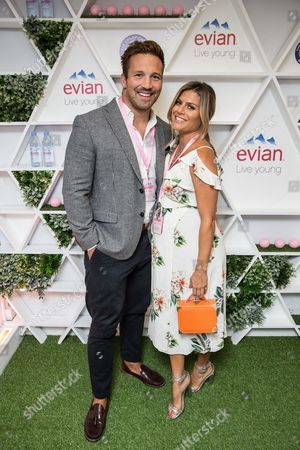 Stock Picture of Paul Doran-Jones and Zoe Hardman in the evian Live Young suite, at Wimbledon 2016 #wimblewatch