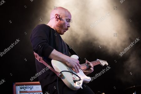 Guitarist Joseph Greer of Australian rock band The Temper Trap performs