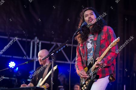 Dougy Mandag of Australian rock band The Temper Trap performs