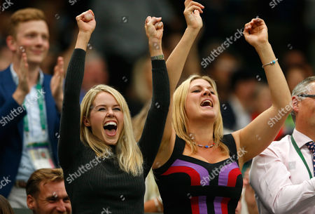 Marcus Willis girlfriend Jennifer Bate (left) celebrates during day three of the 2016 Wimbledon Championships at the All England Lawn Tennis Club, Wimbledon, London on the 29th June 2016