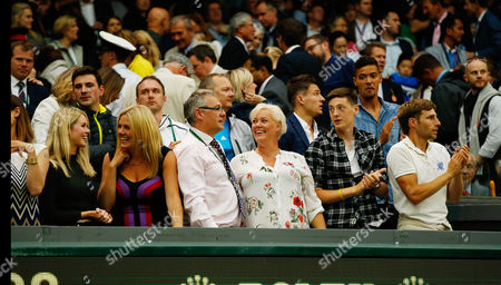 Marcus Willis's family including his mother Cathy (middle short blonde hair) and girlfriend Jennifer Bate (far left) look on following his defeat to Roger Federer during day three of the 2016 Wimbledon Championships at the All England Lawn Tennis Club, Wimbledon, London on the 29th June 2016