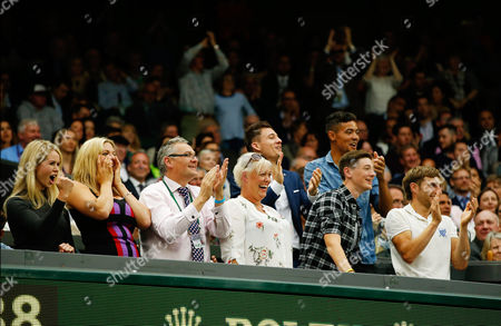 Marcus Willis's family including his girlfriend Jennifer Bate (left) and mother (centre with short blonde hair) during day three of the 2016 Wimbledon Championships at the All England Lawn Tennis Club, Wimbledon, London on the 29th June 2016