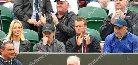 Bernard Tomic's coach Lleyton Hewitt (black top) and his girlfriend Donay Meijer (left) look on during day three of the 2016 Wimbledon Championships at the All England Lawn Tennis Club, Wimbledon, London on the 29th June 2016