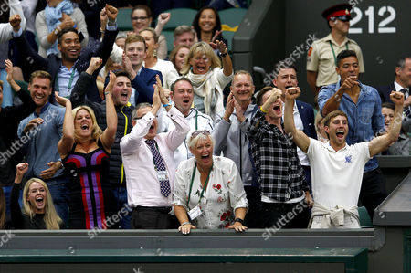 Family and player box of Marcus Willis (Great Britain), including girlfriend Jennifer Bate, far left celebrate wildly during Day Three of the 2016 Wimbledon Championships at the All England Lawn Tennis Club, Wimbledon, London on the 29th June 2016