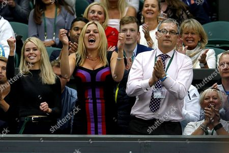 Family and girlfriend of Marcus Willis, Jennifer Bate celebrate wildly during Day Three of the 2016 Wimbledon Championships at the All England Lawn Tennis Club, Wimbledon, London on the 29th June 2016