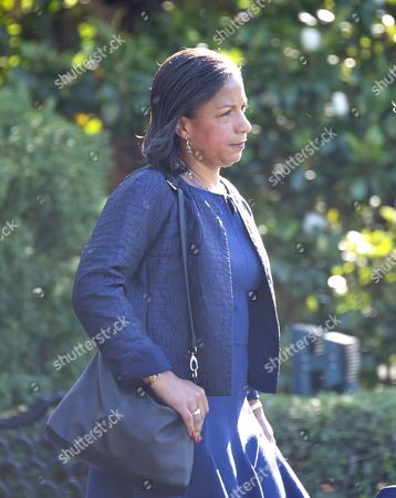 National Security Advisor Susan Rice walks to Marine One as she prepares to depart with United States President Barack Obama on the South Lawn of the White House in Washington, DC to travel to Ottawa, Canada to participate in the North American Leaders Summit