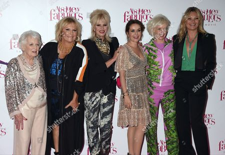 June Whitfield, Jennifer Saunders, Joanna Lumley, Julia Sawalha, Jane Horrocks and Kate Moss