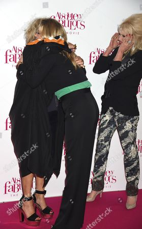 Stock Photo of Jennifer Saunders, Kate Moss, Joanna Lumley