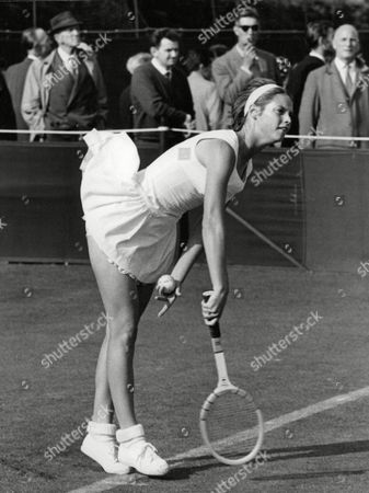 Stock Photo of Kathleen Blake In Play At The 1965 Wimbledon Tennis Championships. Box 661 119011610 A.jpg.