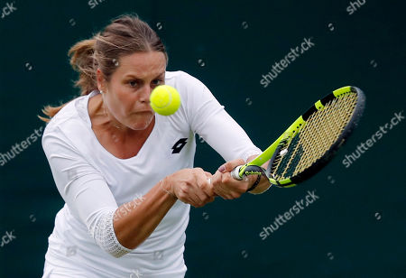 Stock Image of Karin Knapp of Italy returns to Ana Konjuh of Croatia during their women's singles match on day three