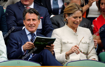 President of the IAAF Lord Sebastian Coe and his wife Carole Annett sit in the Royal Box during day four