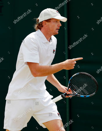 Matthew Barton of Australia celebrates a point against Albano Olivetti of France during their men's singles match on day four