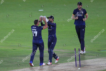 Graham Napier of Essex is congratulated by his team mates after taking the wicket of James Vince during Hampshire vs Essex Eagles, Nat West T20 Blast Cricket at the Ageas Bowl on 8th July 2016