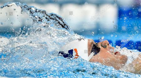 Stock Picture of Tyler Clary swims in a men's 200 metres backstroke semifinal