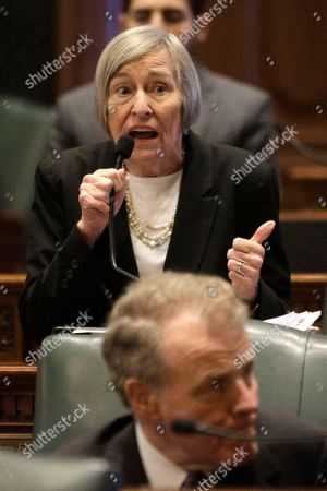 Stock Photo of Illinois Rep. Barbara Flynn Currie, D-Chicago, speaks to lawmakers while on the House floor during session at the Illinois State Capitol