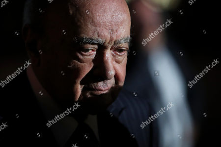 Egyptian businessman and Ritz hotel owner Mohammed Al Fayed leaves after the inauguration at the Ritz Hotel in Paris, Monday, June 27, 2016. Ritz owner Mohamed Al-Fayed and officials from Paris City Hall and the French government are inaugurating the newly renovated column at Place Vendome. Al Fayed funded the restoration of the column as a gift to the city, and his hotel recently reopened after years of renovations