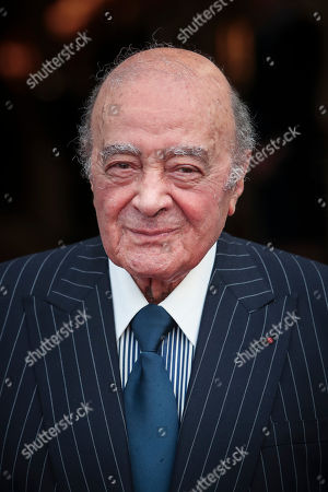 Stock Photo of Egyptian businessman and Ritz owner Mohammed Al Fayed poses for a photograph, in Paris, Monday, June 27, 2016, as guests gather for the inauguration of the newly renovated Place Vendome column. Businessman Mohammed Al Fayed funded the restoration.