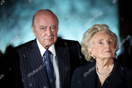 Egyptian businessman Mohammed Al Fayed, left, and Bernadette Chirac, wife of former French President Jacques Chirac pose for a photograph, as they arrive at the Ritz Hotel in Paris, Monday, June 27, 2016. Ritz owner Al Fayed and government officials are inaugurating the newly renovated column at Place Vendome, restoration funded by Al Fayed.