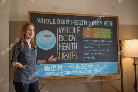 A Purina ONE representative teaches guests of Purina ONE's Whole Body Health Hotel about the tenets of Whole Body Health in Los Angeles
