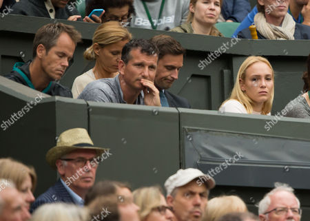 Stan Wawrinka's girlfriend Donna Vekic, with coach Magnus Norman and Richard Krajicek