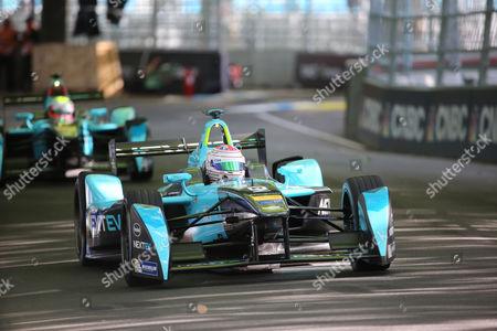 Nextev TCR driver, Oliver Turvey followed by Nextev TCR driver, Nelson Piquet Jr during Round 9 of Formula E, Battersea Park, London