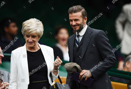 Stock Picture of David Beckham in the Royal Box with his mother Sandra Georgina West