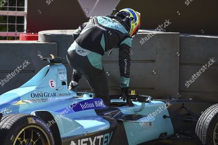 Oliver Turvey of Great Britain and Nextev TCR gets out of the car after his crash during Round 9 of Formula E, Battersea Park, London