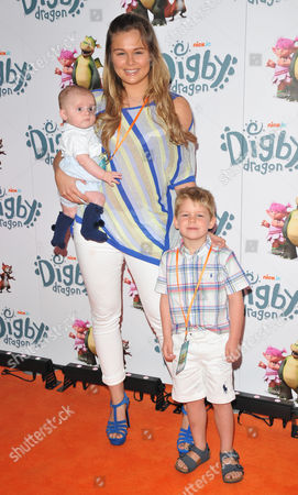 Stock Image of Alex Weaver with son Albie & her brother