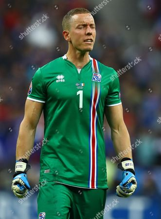 Stock Image of Iceland goalkeeper Hannes Por Halldorsson shows a look of frustration during the UEFA Euro 2016 Quarter Final match between France and Iceland played at the Stade de France, Paris, France on July 3rd 2016