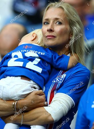 Raghnhildur Sveinsdottir the wife of Eidur Gudjohnsen of Iceland during the UEFA Euro 2016 Quarter Final match between France and Iceland played at the Stade de France, Paris, France on July 3rd 2016