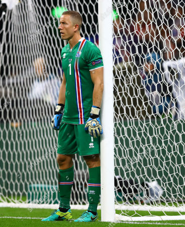 Iceland goalkeeper Hannes Por Halldorsson during the UEFA Euro 2016 Quarter Final match between France and Iceland played at the Stade de France, Paris, France on July 3rd 2016