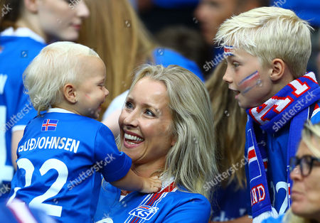 The wife and children of Eidur Gudjohnsen of Iceland during the UEFA Euro 2016 Quarter Final match between France and Iceland played at the Stade de France, Paris, France on July 3rd 2016