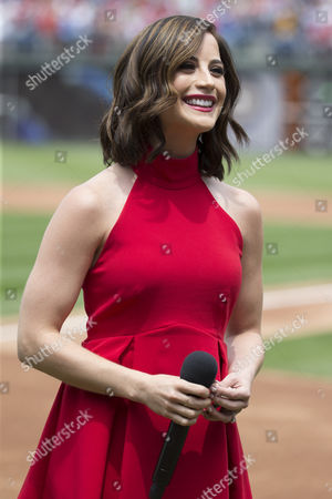 Stock Picture of Joanna Pacitti performs the National Anthem prior to the MLB game between the Kansas City Royals and Philadelphia Phillies at Citizens Bank Park in Philadelphia, Pennsylvania. The Philadelphia Phillies won 7-2
