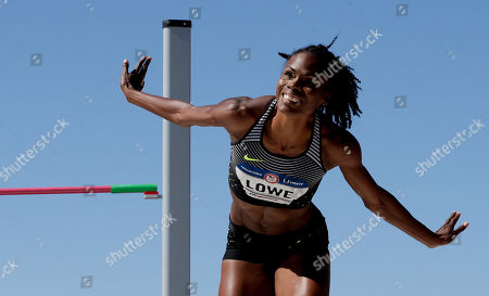 Chaunte Lowe reacts during the women's high jump final
