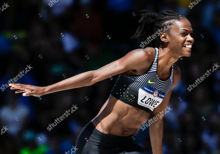 Stock Picture of Chaunte Lowe reacts during the women's high jump final