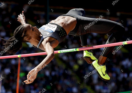 Chaunte Lowe clears the bar during the women's high jump final