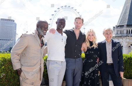 Djimon Hounsou, Yule Masiteng, Alexander Skarsgård, Margot Robbie and Christoph Waltz