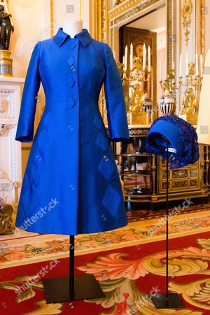 Outfit and hat designed by Sir Norman Hartnell worn by Queen Elizabeth II to the wedding of Princess Anne to Captain Mark Phillips at Westminster Abbey on 14 November 1973
