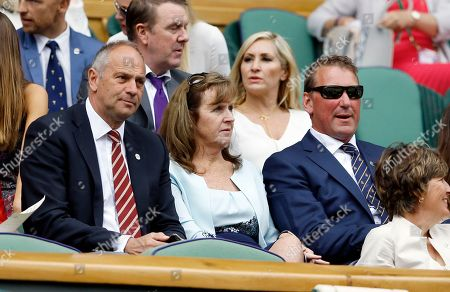 Sir Steven Redgrave, left, and Sir Matthew Pinsent sit in the Royal Box on day eight of the Wimbledon Tennis Championships