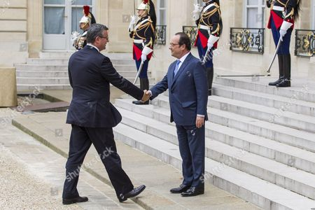French President Francois Hollande greets Croatian prime minister Tihomir Oreskovic before the 3rd Western Balkans summit of Balkan and EU countries