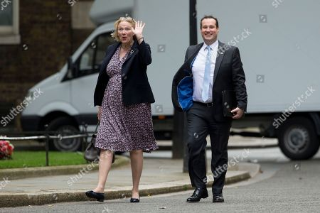 Jayne-Anne Gadhia Chief Executive Officer of Virgin Money and Craig Donaldson Metro Bank's CEO arrive for a meeting of senior financial services leaders with Britain's Chancellor of the Exchequer George Osborne to talk about the next steps for the sector following the British referendum vote to leave the European Union at 11 Downing Street, in London, Tuesday, July 5, 2016. British Prime Minister David Cameron announced his resignation on June 24 after Britain voted to leave the European Union in a referendum.