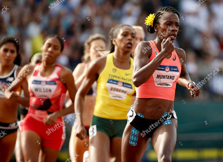 Alysia Montano leads during the first lap of the women's 800-meter final at the U.S. Olympic Track and Field Trials