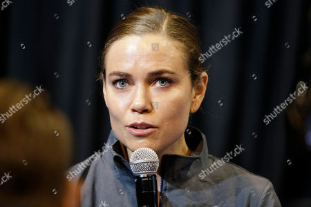 Natalie Coughlin speaks during a news conference. Coughlin announced that she is withdrawing from the trials.