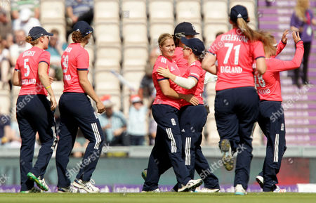 Katherine Brunt of England celebrates catching out Nain Abidi of Pakistan off the bowling of Jenny Gunn during the 2nd Natwest International T20 match between England Women and Pakistan Women played at The Ageas Bowl,  Southampton on July 5th 2016