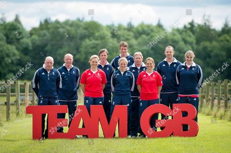 (L-R) John Whitaker, Michael Whitaker, Gemma Tattersall, Ben Maher, Izzy Taylor, William Fox Pitt, Nick Skelton, Kitty King, Spencer Wilton, Fiona Bigwood
